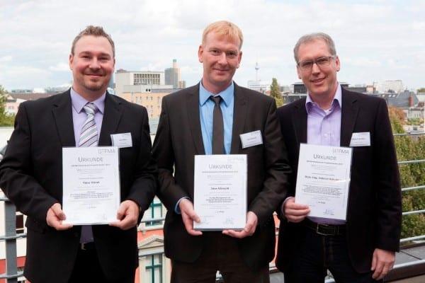 Timo Hänel, Jörn Albrecht und Helmut Kahabka erhielten den GEFMA-Förderpreis 2017. Bild: GEFMA