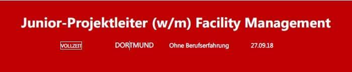 assmann sucht Junior-Projektleiter Facility Management in Dortmund