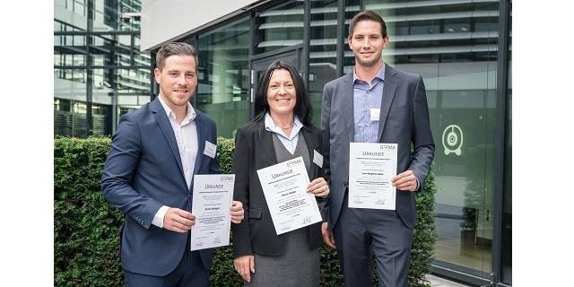 Die Gewinner der GEFMA-Förderpreise 2018: Kevin Spiegel, Petra Kluge, Jan-Magnus Glas (v.l.).
